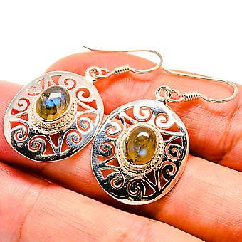 "Labradorite Earrings 1 1/2"" (925 Sterling Silver)  - Handmade Boho Vintage Jewelry EARR406565"