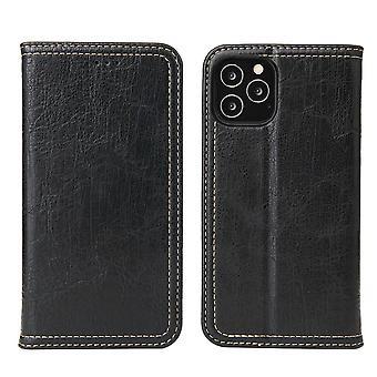 لفون 12 برو ماكس كيس PU محفظة جلدية غطاء واقية Kickstand الأسود