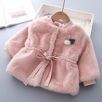 Baby Girl Clothes Winter Thick Warm Jacket Mink Fleece Imitation Fur Princess Hair Sweater