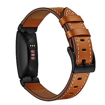 For Fitbit Inspire / Inspire HR Genuine Leather Band Replacement Wristband Strap[Brown]