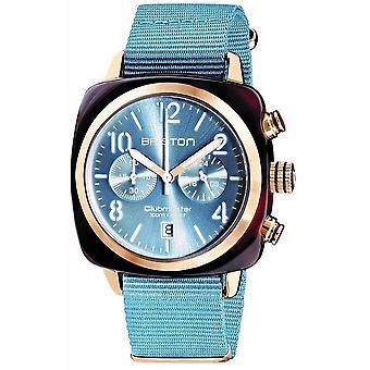 Briston Clubmaster Klassisk Acetate Kronograf klocka - Isblå / Rose Guld