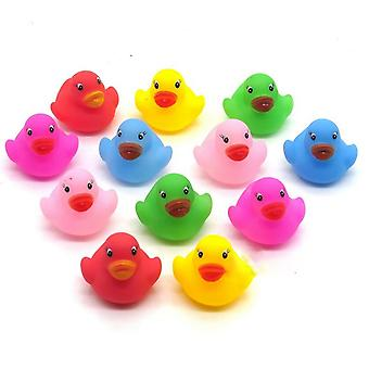 12pcs Baby Bathroom Water Pool /- Kawaii Mini Colorful Rubber Float Squeaky