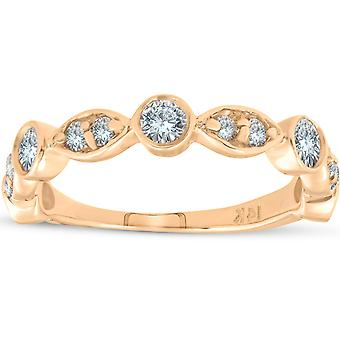 1/2ct Bague de mariage en diamant 14k Lunette empilable en or jaune 3/4 Eternity Band