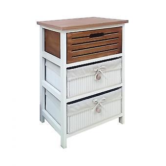 Rebecca Furniture Bedside Table Settimino 3 Drawers Retro Brown White 58x40x29