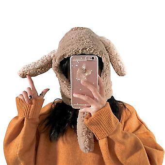Autumn And Winter Cute Bunny Ears Plush Warm Hat Scarf Integrated Ear Protection Cap