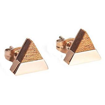 BeWooden Rea Triangle Earrings - Rose Gold/Brown