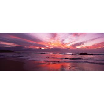 Skyer over havet ved solnedgang Hapuna Beach syd Kohala Coast store ø Hawaii USA plakat Print