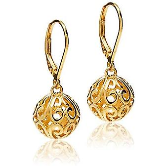 18k Yellow Gold Plated Sterling Silver Filigree Ball, Yellow, Size No Size