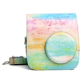 Rainbow Oil painting Pattern PU Leather Protective Camera Case Bag For FUJIFILM Instax Mini 7S / 7C Camera