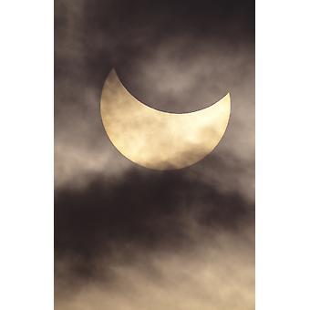 Hawaii-11. Juli 1991-Sonnenfinsternis-teilweise mit Wolken PosterPrint