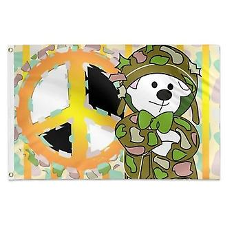 Bear Soldier Cartoon 2 Flag