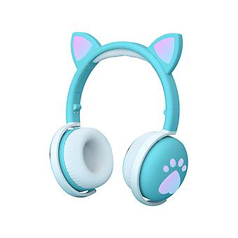 Bluetooth Cute Cat Ear Stereo Led Gaming Headset, Foldable 3.5mm Noise Reduction Headphones