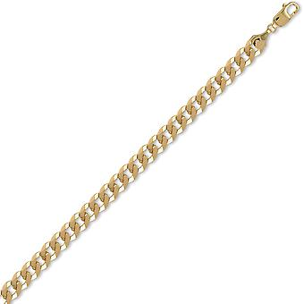 Jewelco London Men's Solid 9ct Yellow Gold Flat Curb 8.4mm Gauge Chain Necklace