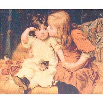 Dolls House Viktoriaaniset lapset Kuva maalaus kangas Miniatyyri lisävaruste
