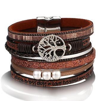 Tree Of Life Charm Pearl Leather Bracelets