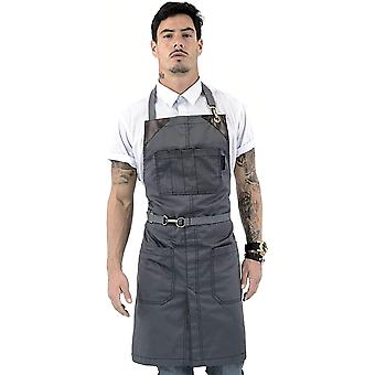 Under NY Sky No-Tie Armor Gray Apron - Durable Twill with Leather Reinforcement