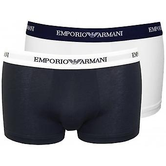 Emporio Armani 2-Pack Logoband Contrast Waist Boxer Trunks, Navy/White