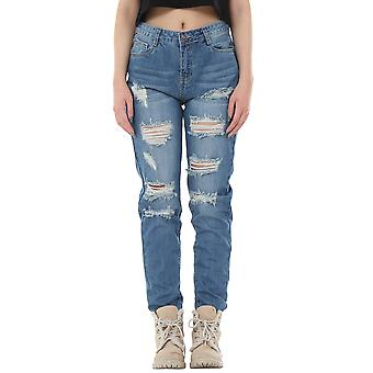Ripped Distressed Frayed Jeans Short Leg - Azul