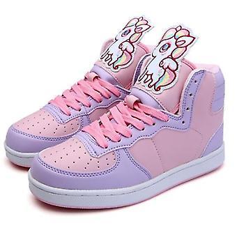 Anime Cosplay Tatlı Ayakkabı yuvarlak kafa düz topuk yüksek yardım renk eşleşen kadınlar