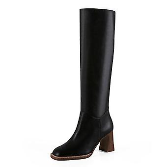 Women Knee High Heel Boots, Lady Warm Winter Shoes