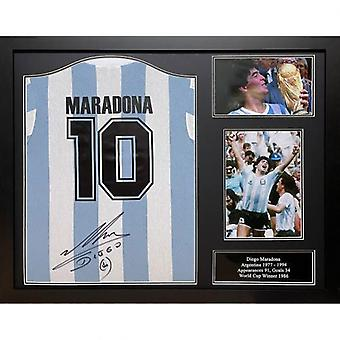 Argentina Maradona Signed Shirt (Framed)