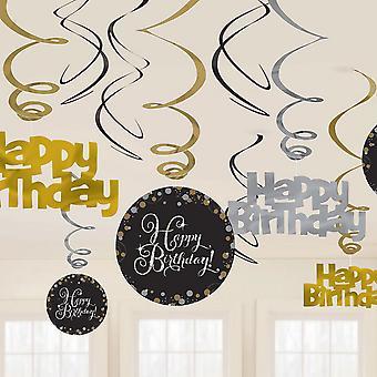 חגיגת אמסריקה מערבולות יום הולדת שמח קישוטים (חבילת 12)
