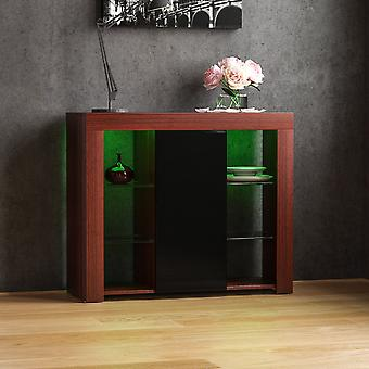 Azura 1 Door LED Large Sideboard High Gloss Cabinet, Walnut & Black