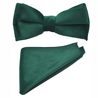 Racing Green Velvet Vlinderdas & Pocket Vierkante Set