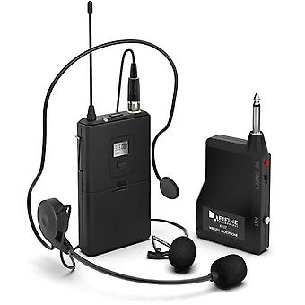 Wireless microphone system,fifine wireless microphone set with headset and lavalier lapel mics, belt