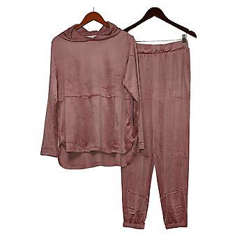 Carole Hochman Women's Silky Stretch Velour Hoodie Pajama Set Pink A381873