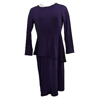 Susan Graver Dress Every Day Liquid Knit Peplum Purple A370907