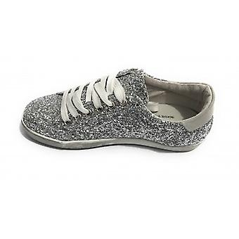 Shoes Woman Tony Wild Sneaker Leather Glitter Silver Star Suede Grey Ds18tw31