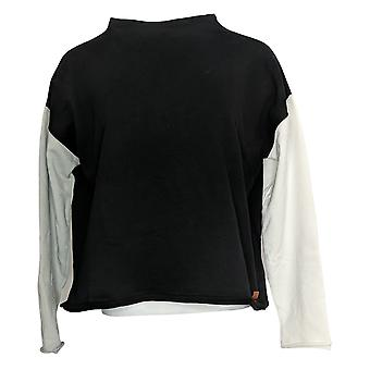 Peace Love World Women's Color-Block French Terry Pull-Over Black A351885
