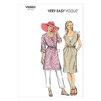Vogue coser patrones 8985 se pierde pantalones de vestir de túnica tamaño XS-MD