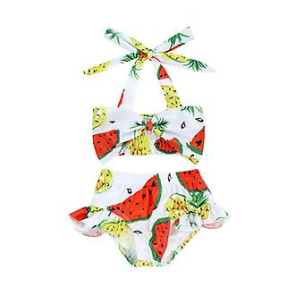 Swimsuit cross-border children's split black and white striped floral pattern with shoulder straps two-piece set
