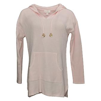 Belle By Kim Gravel Women's Sweater Signature Hooded Textured Pink A391279