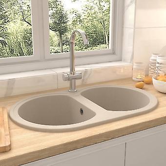 vidaXL kitchen sink double basin oval beige granite