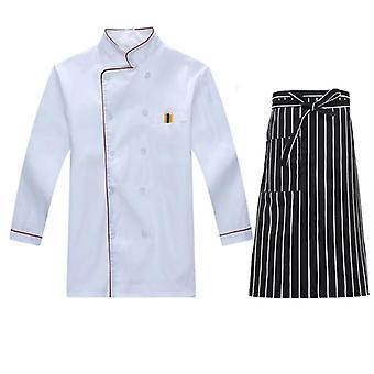 Unisex Šéfkuchár Uniform Restaurant Kuchyňa Pekáreň Cook Pracovné nosenie Košeľa Zástera