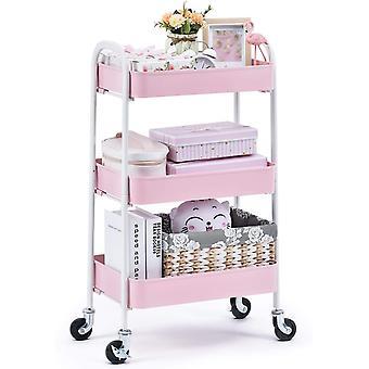 FengChun rollwagen, küchenwagen 3 etagen rollwagen Metall, allzweckwagen für Küche Bad Kosmetik,