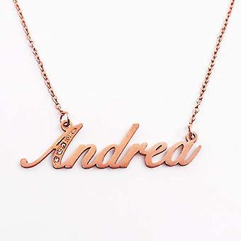 Kigu Andrea - Anpassningsbart namn halsband med kubiska zirkoner, rosenguld pläterad, anpassningsbar