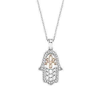 Liebe Halskette mit Damenanhänger, 925 Silber, 45 cm, Muster: Hamsa Hand, noch weiß