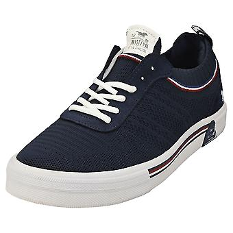 Mustang Lace Up Low Top Womens Casual Trainers in Donkerblauw