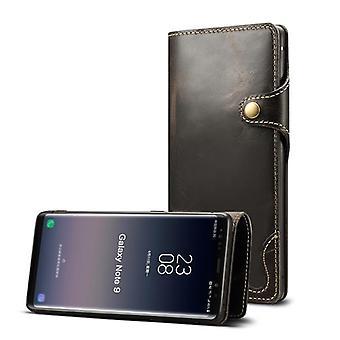 Wallet leather case card slot for samsung s9plus black no3155