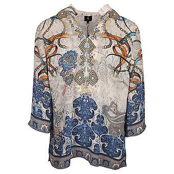 K-design Blue Floral Print Long Sleeve Lightweight Tunic Top
