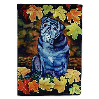 Les trésors de Caroline 7159Gf Vieux carlin noir dans les feuilles d'automne Drapeau, Petit, Multicolore