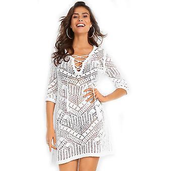 סרוג ביקיני לכסות את Suncreen לקשור את חלול החוצה Kaftan בגדי חוף שמלה