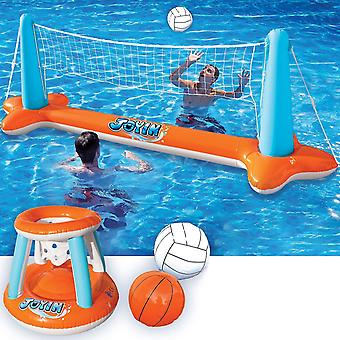 Uppblåsbar pool float set volleyboll nät och basket hoops, simning spel leksak