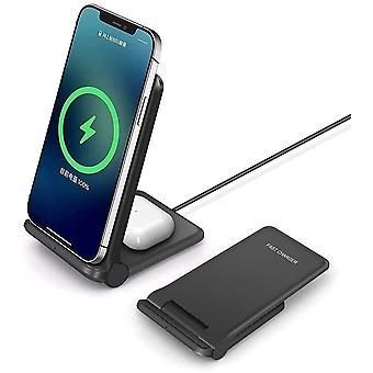 20W беспроводное зарядное устройство, складная 2 в 1 беспроводная зарядная станция для Samsung Galaxy S21 / S20 / S10 / S10 + / S9 / Note10 / Galaxy Buds; 7.5W Беспроводное зарядное устройство Подставка для iPhone11 / X / XS / XR / XS Макс / 8 / 8P / Airpods, (черный)