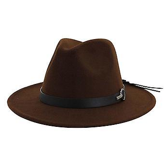 Femei Wide Brim Lână Felt Jazz Fedora Hat (o dimensiune)