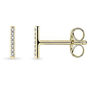 Gisser Jewels - Boucles d'oreilles - Boucles d'oreilles Rod set avec Zircone - 7mm x 1mm - 14 Caraat Yellow gold
